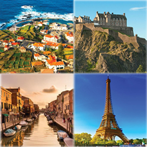 Collage of Portugal, Scotland, Italy and France, Educational Travel header